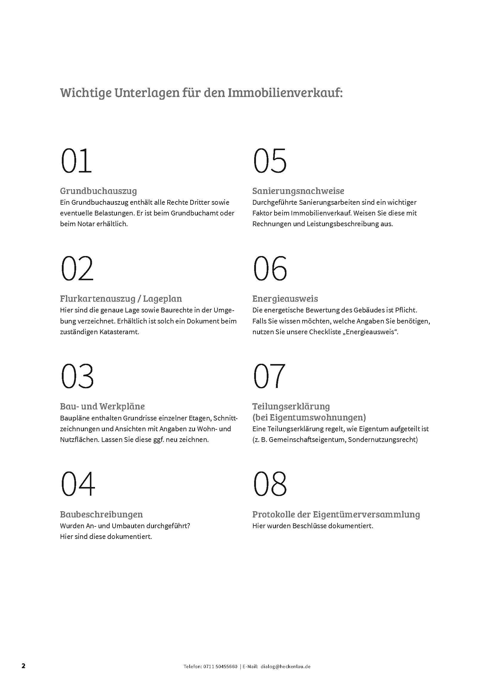 Wichtige Verkaufsunterlagen - Checkliste von Heckenlau Immobilien - Makler für den Verkauf von Wohnimmobilien in Stuttgart