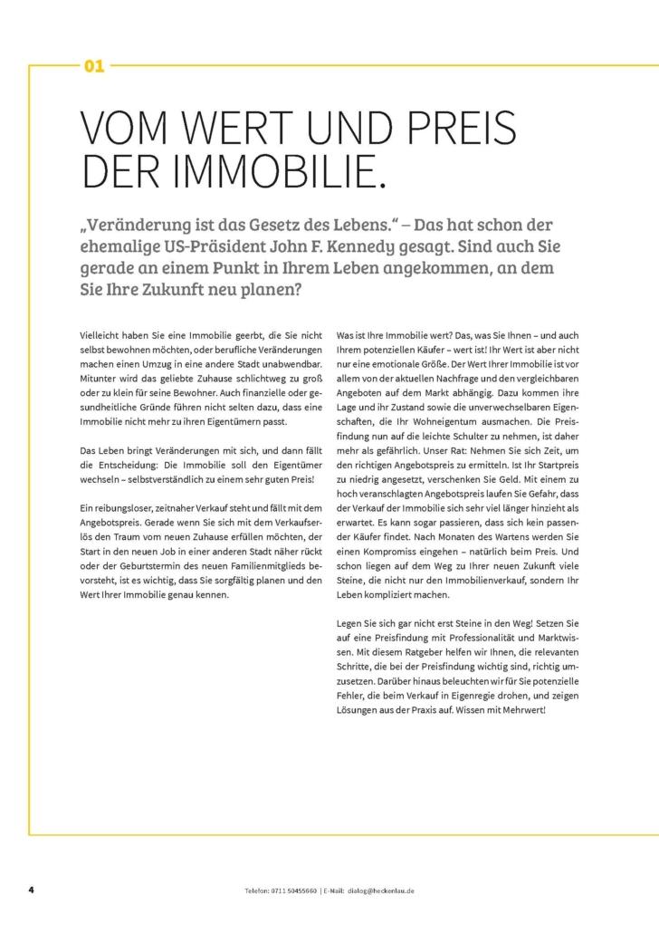 Der richtige Immobilienpreis - Ratgeber von Heckenlau Immobilien - Makler für den Verkauf von Wohnimmobilien in Stuttgart