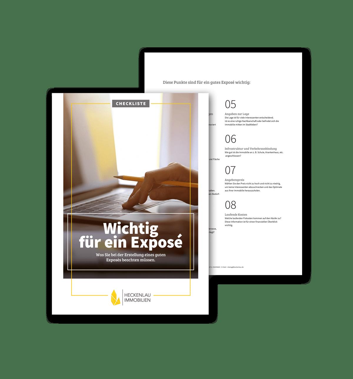Was gehört in ein Exposé - Checkliste von Heckenlau Immobilien - Makler für den Verkauf von Wohnimmobilien in Stuttgart