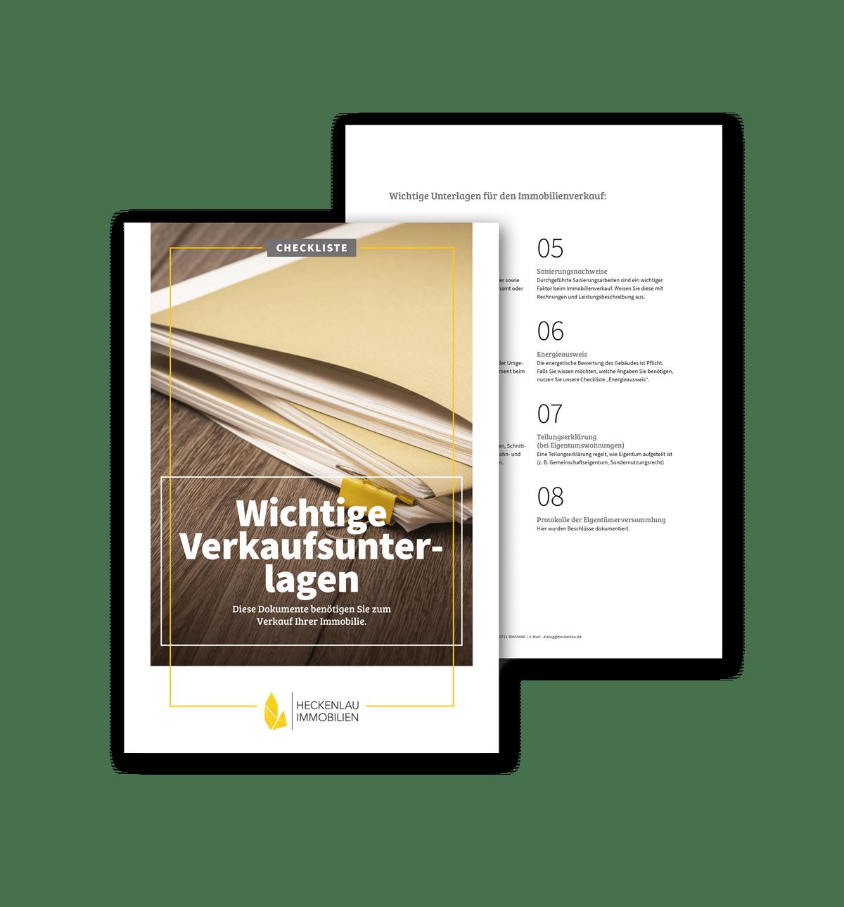 Unterlagen für den Immobilienverkauf - Checkliste von Heckenlau Immobilien - Makler für den Verkauf von Wohnimmobilien in Stuttgart